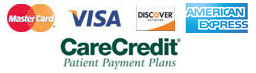 We Accept Visa, Mastercard, Discover and Care Credit